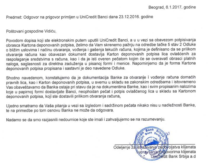 Odgovor Unicredit banke pečat